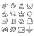 line sewing and needlework tool icon set vector image