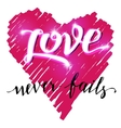 Love never fails brush calligraphy vector image