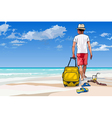 Man tourist with a suitcase walking along vector image