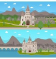 Medieval Ancient Temples Horizontal Compositions vector image vector image