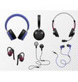 music earphones various types realistic earbuds vector image