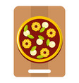 pizza with ingredients on the wooden board icon vector image vector image