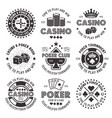 poker and casino black gambling emblems vector image