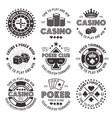 poker and casino black gambling emblems vector image vector image