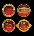quality retro golden badges collection 3 vector image vector image