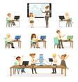 school children at the informatics and programming vector image vector image