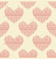 seamless pattern with red ethnic hearts can vector image