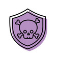 security shield with dangerous skull bones inside vector image