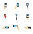Selfie icons set cartoon style vector image