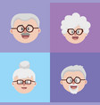 set grandparents couples face with glasses and vector image