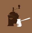 silhouette of a coffee grinder cezve and mug vector image
