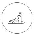 skier black icon outline in circle image vector image vector image