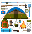 summer outdoor travel camping icons tourism hiking vector image vector image