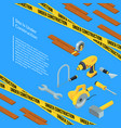 under construction tools isometric icons vector image vector image