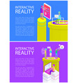 virtual reality cyberspace set vector image vector image
