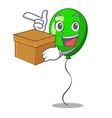 with box green baloon on left corner mascot vector image