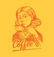 woman holds a mug coffee victorian gentleman vector image vector image