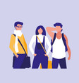 young people group modeling with handbags vector image
