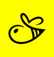 abstract bee symbol icon on yellow vector image