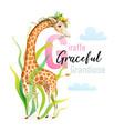 animal abc letter g is for giraffe design vector image vector image