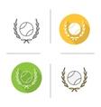 Baseball ball in laurel wreath icons vector image vector image