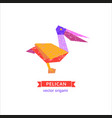 bird origami icon vector image vector image