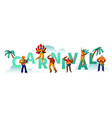 brazilian carnival party character poster vector image vector image