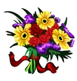 bright bouquet yellow red and purple flowers vector image vector image