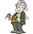 cartoon of a happy old man taking money out of vector image vector image