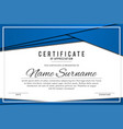 certificate template in elegant blue color with vector image vector image