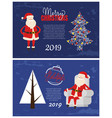 christmas and new year 2019 postcards xmas tree vector image
