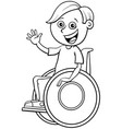 disabled boy character on wheelchair color book vector image