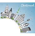 dortmund skyline with gray buildings blue sky and vector image vector image