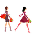 fashion girls with purchase for your design vector image vector image