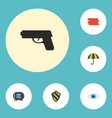 Flat icons shield vision safe and other vector image