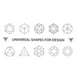 geometric shapes ollection black iconslinear vector image vector image
