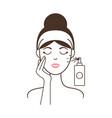 girl in headband aplies micellar water from spray vector image vector image