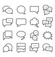 gray line speech bubbles icons set vector image