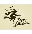 happy halloween greeting card witch flying vector image vector image