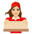 happy young pizza delivery girl vector image vector image