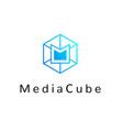 hexagonal geometrical social network logo vector image vector image