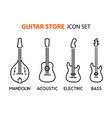 icon set of acoustic electric guitars and vector image