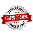 leader of sales 3d silver badge with red ribbon vector image vector image