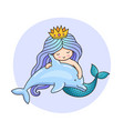 little dreamy princess mermaid with dolphin vector image vector image