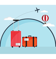 Luggage with Air Plane and Hot Air Ballloon vector image vector image