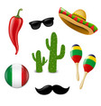 mexican set vector image vector image