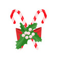 mistletoe with big bow and candy canes vector image vector image