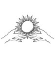 open hands with vintage sun vector image vector image