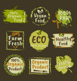 organic products and vegan food colored emblems vector image vector image