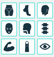 part icons set with finger head foot and other vector image